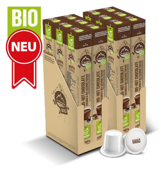 Hot Chocolate Cremiger BIO Gormet KAKAO - 120 Kapseln La Natura Lifestyle