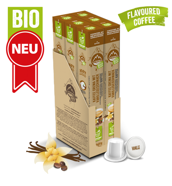 Crema BIO káva s přírodní vanilkovou příchutí La Natura Lifestyle - 60 kapslí