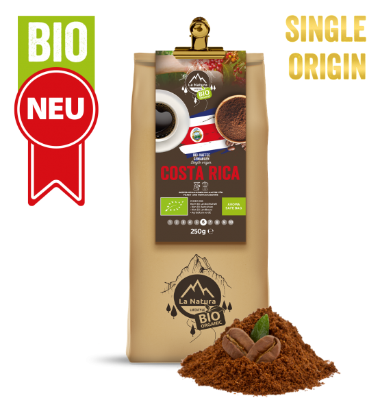 Costa Rica Bio plantážní káva Single Origin mletá 250g La Natura Lifestyle