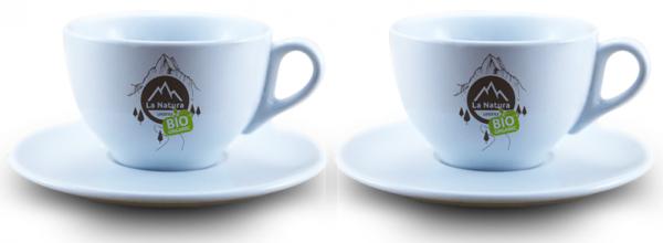 Caffee Latte Tasse 4 Teilig Porzellan 2 Tassen + 2 Untersetzer La Natura Lifestyle 245